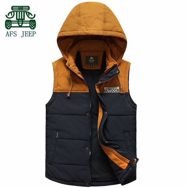 AFS JEEP 2015 Winter Men's leisure photography Casual Cotton Vest,Detachable Hat cotton Thickness Waistcoat,Patchwork Man Coat