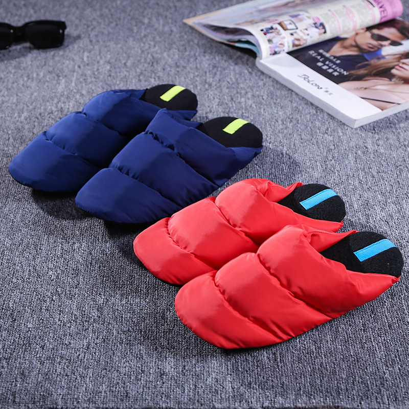 2017 new Autumn and winter home warm down cotton slippers  women couple indoor slippers home shoes floor mute month shoes