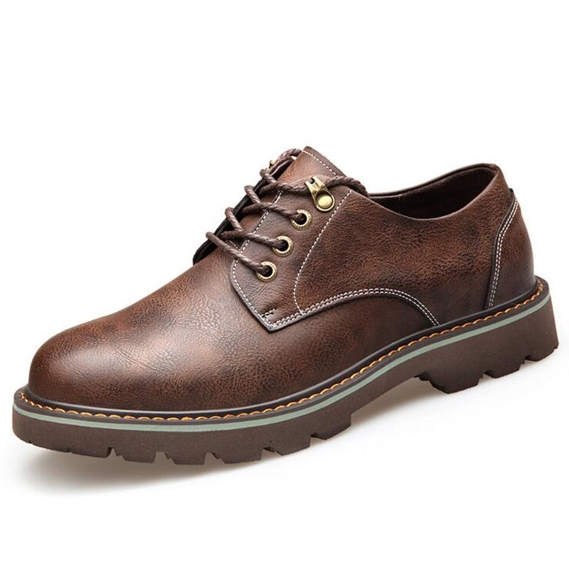 Sapatos gray Nova Trabalho De Cabeça Casuais Homens yellow Dos Rodada Homem Sapatas Black Couro Outono brown cS1x6qqT