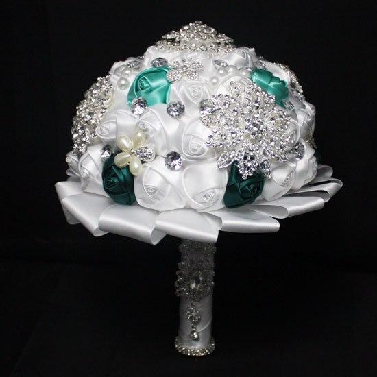 2017 dama de Honor Nupcial de La Boda Bouquet Barato de Lujo Crystal Rhinestones Blancos Hechos A Mano Artificial Rose Flores Ramos de Novia