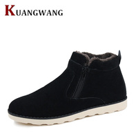 Autumn Winter Men Warm Snow Boots Casual With Short Plush Ankle Boots Height Increasing Rubber Zip