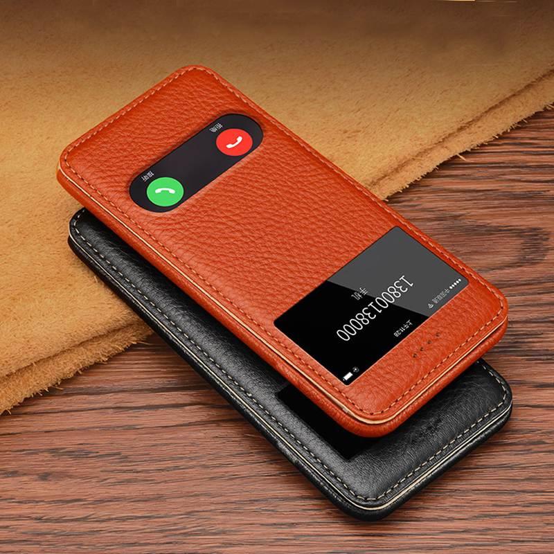 Цена за Подлинная Кожаный Чехол Для Apple Iphone 6 6 s Плюс Магнитное покрытие Чехол Вид из Окна Coque Для Iphone 6 Плюс Флип случае