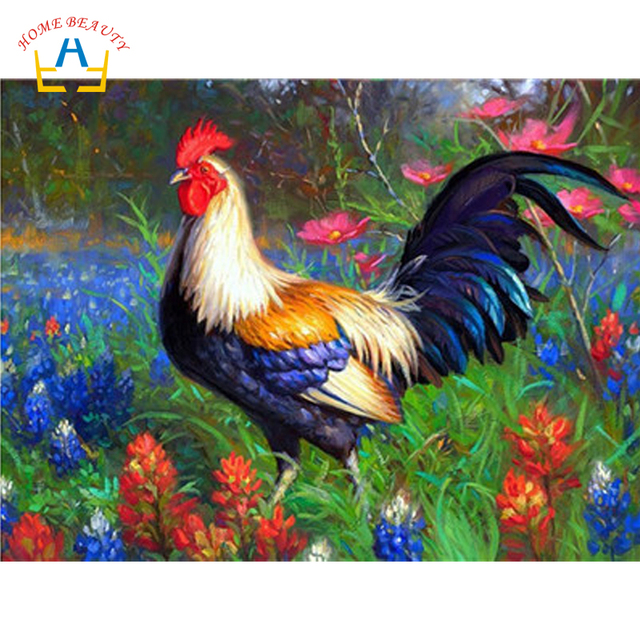 Animals Rooster Pictures Modern Paintings By Numbers On Canvas For The Kitchen Wall Art Drawing Hand