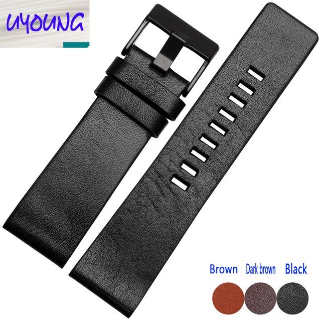 Plain Leather Watchband adapter DZ1399 DZ4280 DZ4290 2426 28mm Diesel watch strap