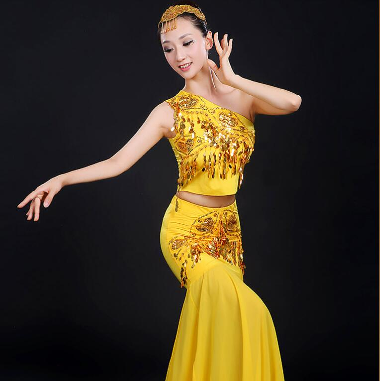art Costume Dai dance sequined Peacock Dance Adult Costume Yunnan fishtail skirt Costume Dress art Costume in Sets from Novelty Special Use