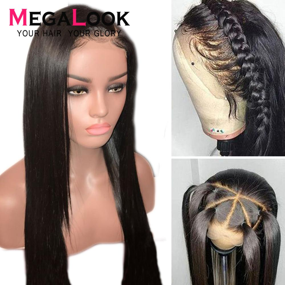 Straight Lace Front Human Hair Wigs Pre Plucked With Baby Hair 180 Density Glueless Remy Hair