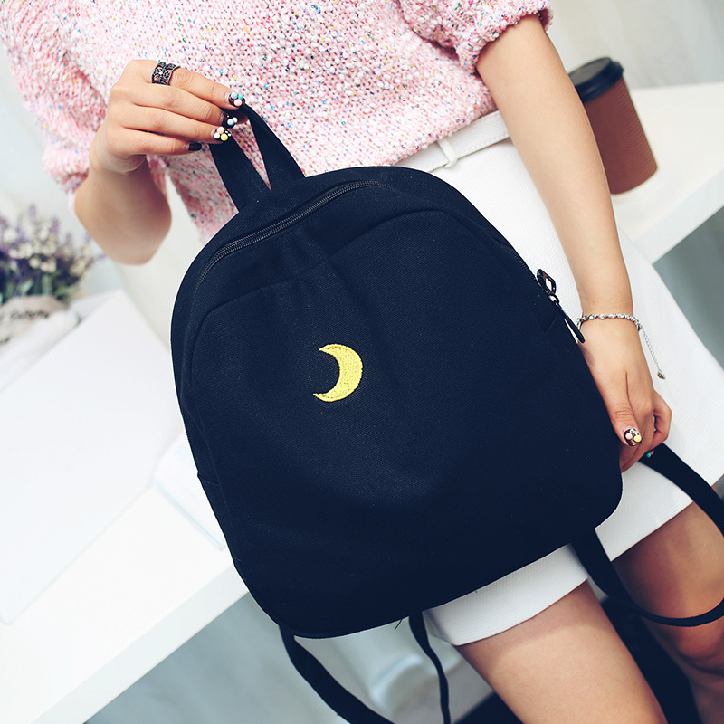 STANCHION  Mini Shoulder Bag Soft Sister Moon Canvas Bag Middle School Student Girl Small Backpack