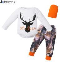 JOCESTYLE 3pcs Baby Clothing Set Newborn Boy Girl Deer Long Sleeve Romper Printing Pants Hat 3pcs Autumn Outfits Set Costume
