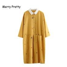 Merry Pretty Yellow Cotton Linen Shirt Dress Women 2019 Casual Turn-down Collar Straight Pocket Cartoon Embroidery Female