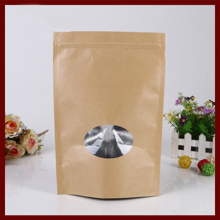 17 24 4 30pcs brown self zip lock kraft paper bags with window for gifts sweets and candy food tea jewelry retail package paper in gift bags wrapping