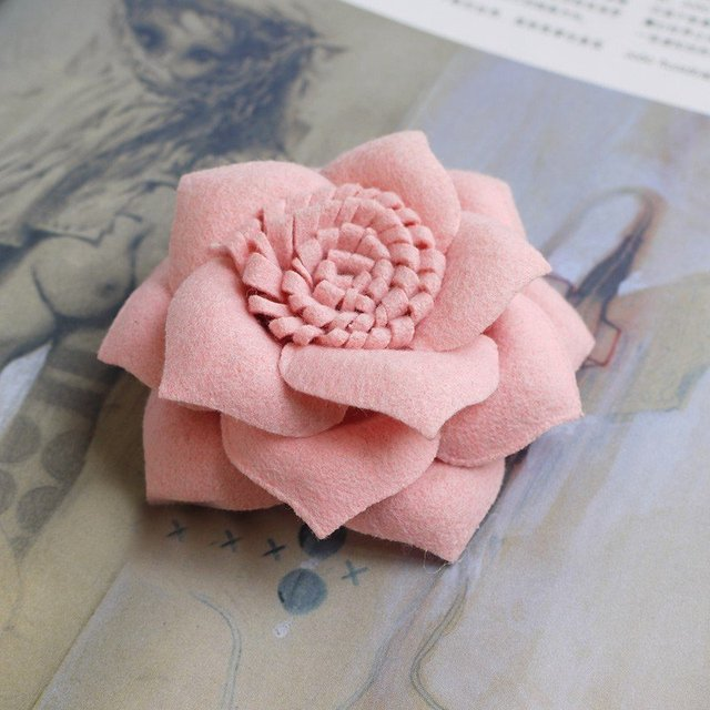 famous France brooch pins 90mm felted fabric flower corsage brooch Lovely Pink by professional design
