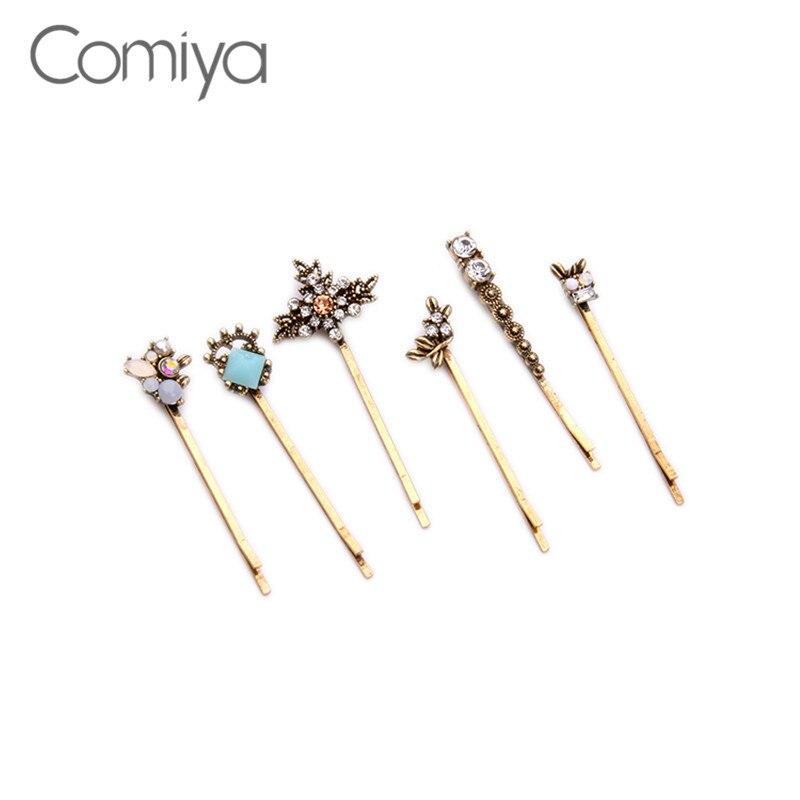 Comiya Peinetas Para El Pelo Novia Pendientes Mujer Zinc Alloy Multi Color Resin Stone Hairpins Vintage Diademe Mariage Hairpin