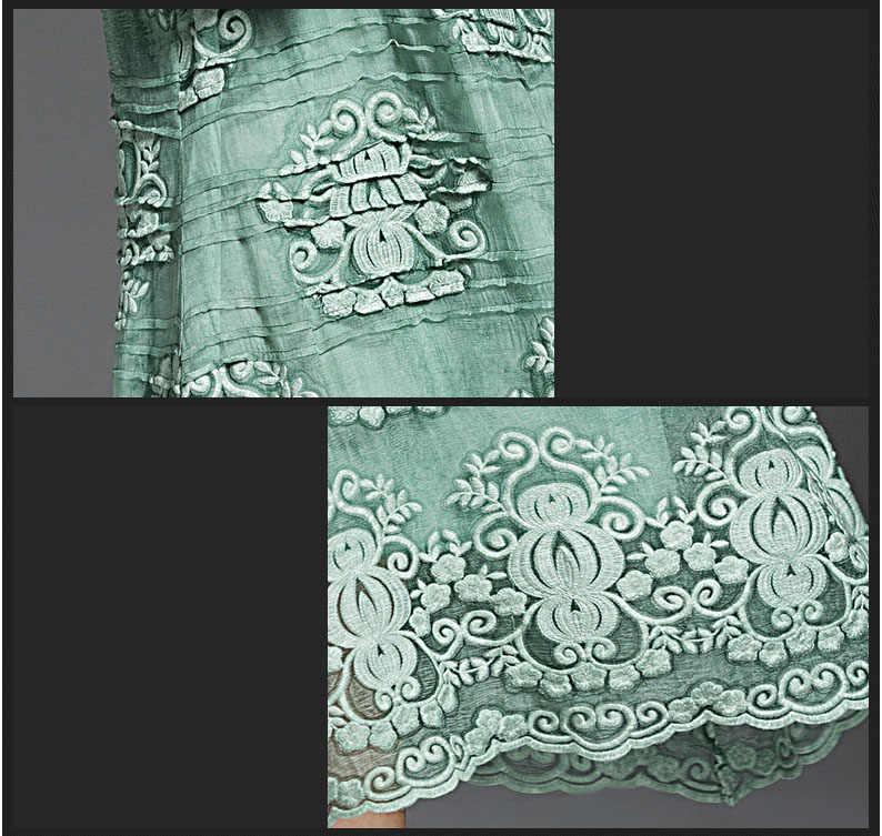 Лидер продаж 2019 новый искусственный шелк тонкий элегантный темперамент короткий рукав платье с кружевом и вышивкой, Длинные Slash шеи платье с широкой юбкой RE2137