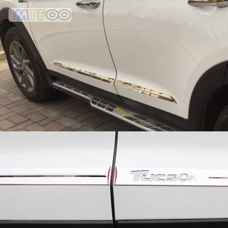 IMTFOO STAINLESS STEEL EXTERIOR DOOR TRIM DECAL BODY STICKERS FOR HYUNDAI TUCSON 2015 2016 2017 ACCESSORIES