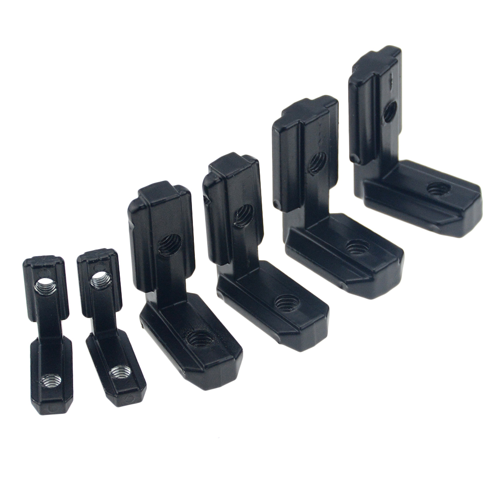 10pcs/lot 2020 Black L Shape Inner Corner Joint Bracket With Screw And Wrench For 2020 3030 4040 Aluminum Extrusion Profile