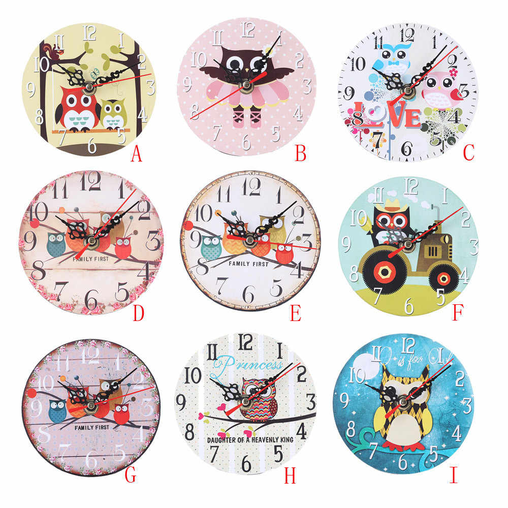 Vintage Cartoon Owl Colorful Wall Clock Quartz Creative Cute Owl Non-Ticking Wood Wall Clock Antique Home Clocks Decoration