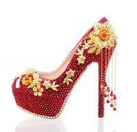 Роскошный супер Обувь на высоком каблуке красный жемчуг ручной работы gold металлические цветы вечерние туфли лодочки красный HS251 кристалл с