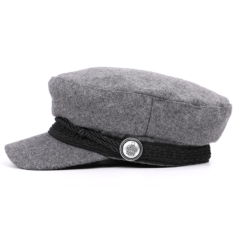 3269ec12fd2c50 2018 High Quality Wool Military Hats Man Woman Flat Cap Solid Color Newsboy  Hat Captain Caps Women's Vintage Berets Balck Unisex-in Military Hats from  ...