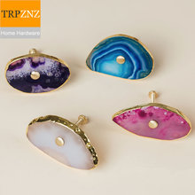 Factory direct sales,so beautiful, Natural agate stone  drawer handle knobs  copper parts, many colors,different shapes