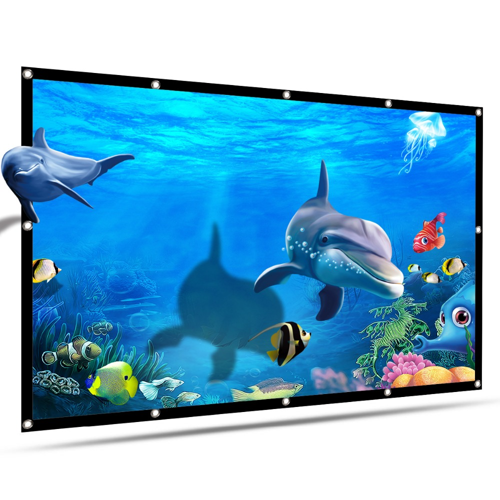 """100/"""" Movie Projector Screen 16:9 Projection HD Home Theater Portable Foldable"""