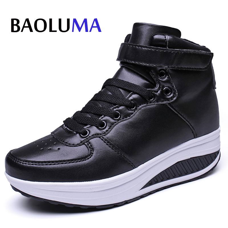 Baoluma Women Shoes Pu Loafers Rubber Personality Mouth High-top White Black Flats Lace Comfort Casual Loafer Ladies Shoes mcckle woman fashion plus size shoes women black flats loafers shoes casual comfort shallow mouth work shoes brand ladies shoes