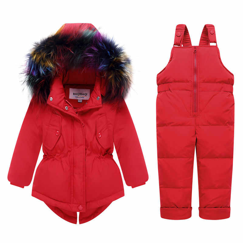 冬暖かい女の赤ちゃんロングアヒルダウン & パーカーベビーダウンジャケット子供の毛皮の襟生き抜くコート-30 度スキースーツセット