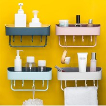 Wall-mounted Bathroom Shelf With Hooks Shampoo Organizer Toilet Bath Shower Shelves Towel Holder Nail Free Kitchen Storage Rack free shipping ciencia triangle black corner caddy bathroom shelf with hooks wall mounted kitchen storage with nail free glue