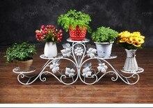 134cm big size 5 pots european balcony and indoor flower pot holder garden flower stand iron flower pergolas