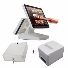 Free shopping pos touch screen 15 screen terminal all in one PC and 80MM thermal printer