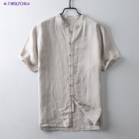 Quality 2018 Summer cotton Linen Shirts Men Short Sleeve Breathable Shirts Men Solid Stand Collar Shirts Social Clothes