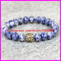 1PCS New Fashion 2015 Natural Blue Grain Stone Buddha head Bracelet For Women Druzy Drusy Gold Plated Hamsa Hand Bracelet Bangle