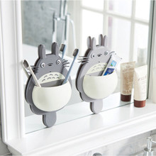 1pcs Toothbrush Wall Mount Holder Cute Totoro Sucker box Bathroom Organizer Tools Accessories(China)