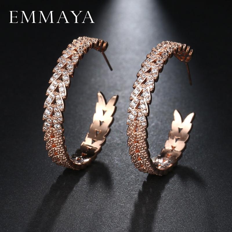 EMMAYA 2017 Rose Gold Color Big Round Earring Paved Luxury AAA Cubic Zirconia Fashion Women Loop CZ Earrings