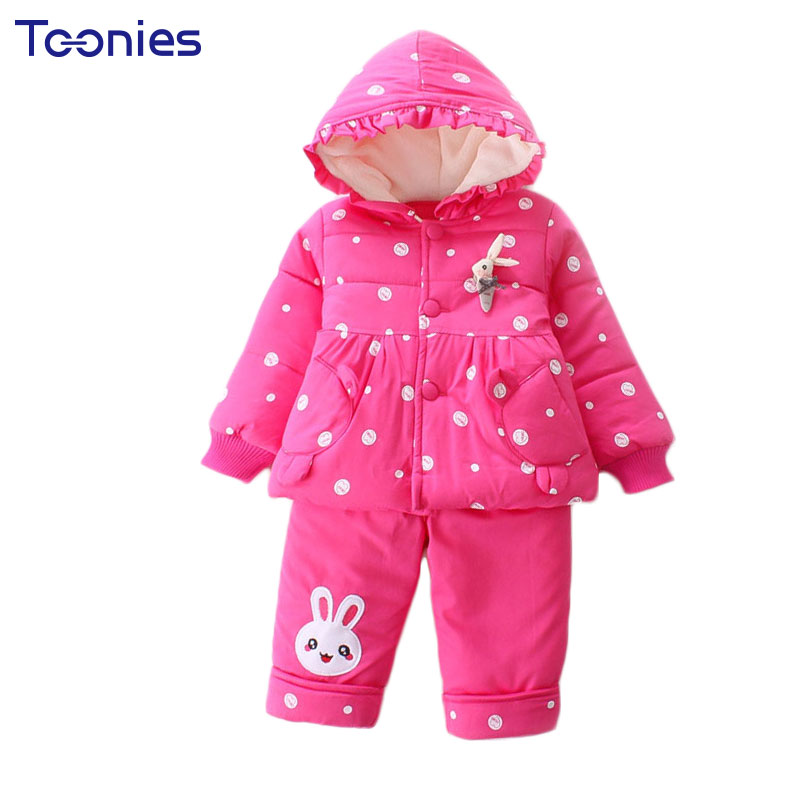 Winter Cute Girl Suits Warm Cotton Baby Girl Clothes 2018 High Quality Thick Hooded Pant Suit Child Girls Clothing Set Polka Dot cute puppy baby girl clothes set children hoodies 2017 winter new boy hooded cashmere sweater kids thick two piece suit