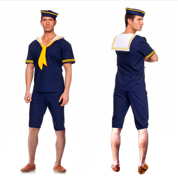 Men Halloween Cosplay Costumes Men Blue Sailor Navy Captain Boatman Cosplay Costumes Costume Ball Cosplay 3 PCS Se