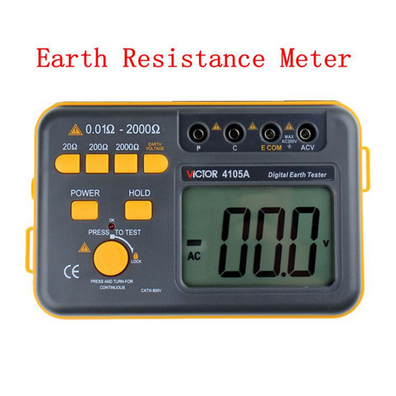 Brand Digital Earth Tester Ground Resistance Ground&AC Voltage Measurement Electronic Earth Resistance Meter VC4105A With Bag uni t ut522 2 7 lcd digital earth ground resistance voltage meter tester 6 x aa