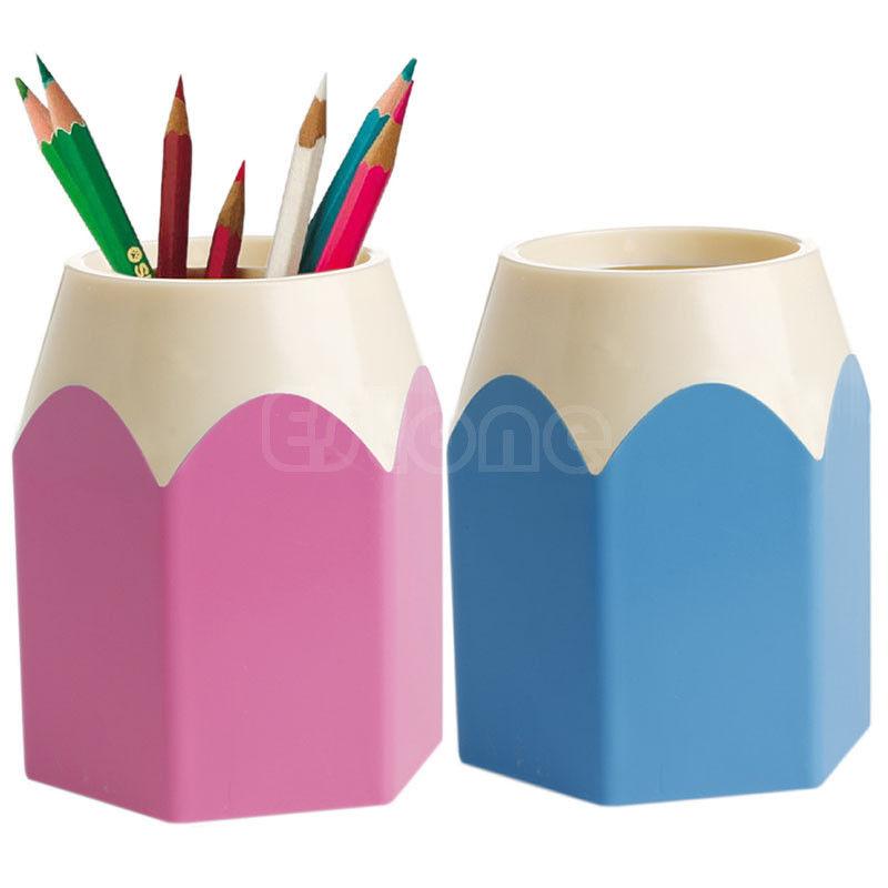 New Pink/Blue Pencil Makeup Brush Holder Pen Cup Box Desk Organizer Kids Gift Oct18