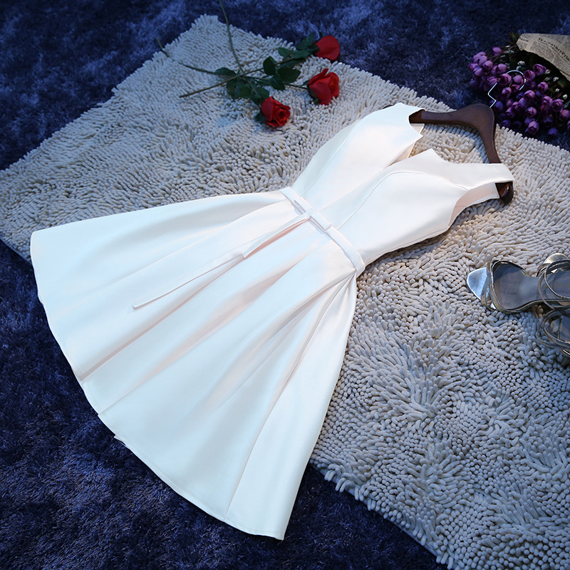 HJZY 65B#Short Bridesmaid Dresses White Red Lace up Champagne Wedding Party prom Dress wholesale girls fashion Free custom dress