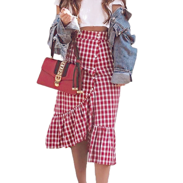 df505b769 2018 Gingham Summer Maxi Skirt Women Red White Plaid Long Skirts Check  Ruffled Skirt Female Autumn Party Street Style Cotton