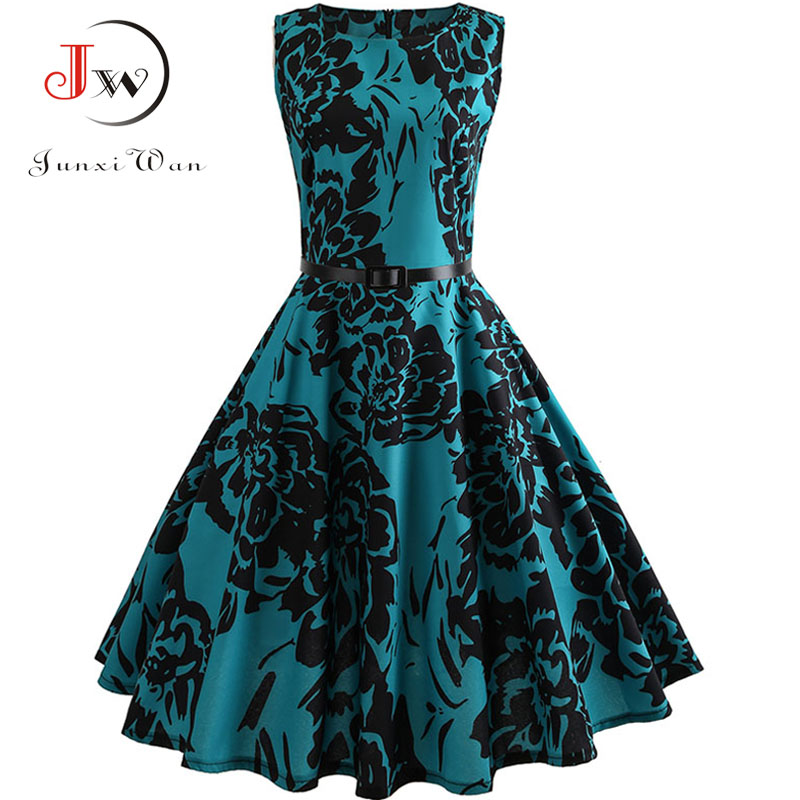 Floral Print Summer Dress Women  Vintage Elegant Swing Rockabilly Party Dresses Plus Size Casual Midi Tunic Runway Dress