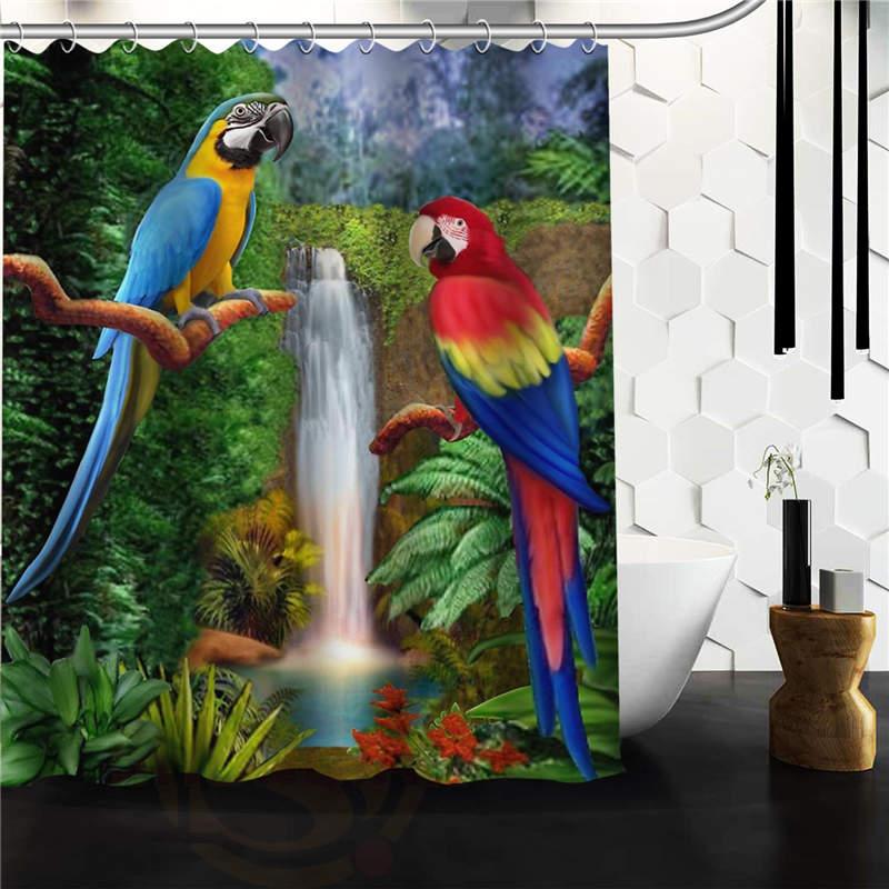 Custom Parrot Waterproof Fabric Bathroom Shower Curtain Parrot 60x 72 48x 72