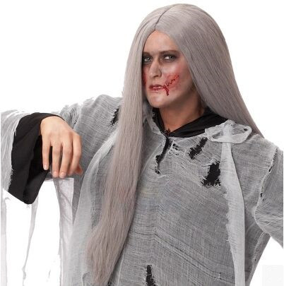 zombie wig halloween cosplay wig gray white long straight wig hair halloween props carnival supplies