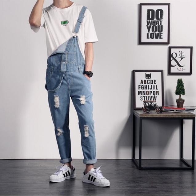 e1a0b521b € 31.61 10% de DESCUENTO|Pantalones japoneses de primavera para hombre moda  pies cinturón pantalones sling Pantalones Slim de una pieza vaquero ...
