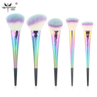 Anmor Rainbow Make Up Brushes 5 Pieces Makeup Brush Set Portable High Quality Basic Face Kit