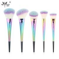 Anmor Rainbow Make Up Brushes 5 Pieces Makeup Brush Set Portable High Quality Basic Face Kit