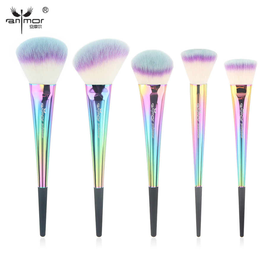 Anmor Rainbow Make Up Brushes 5 Pieces Makeup Brush Set Portable High Quality Basic Face Kit Synthetic Makeup Brushes CF-532 high quality 7 makeup brush set kit in sleek berry red leather bag make up portable brushes free shipping