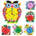 SZJUYI Creative DIY design cartoon clock puzzle cartoon animal kindergarten children handmade EVA puzzle children's toys