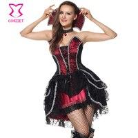 Deluxe Ma Cà Rồng Vixen Trang Phục Cosplay Halloween cho Phụ Nữ Trưởng Thành Đen/Burgundy Victorian Gothic Dress với Choker Collar