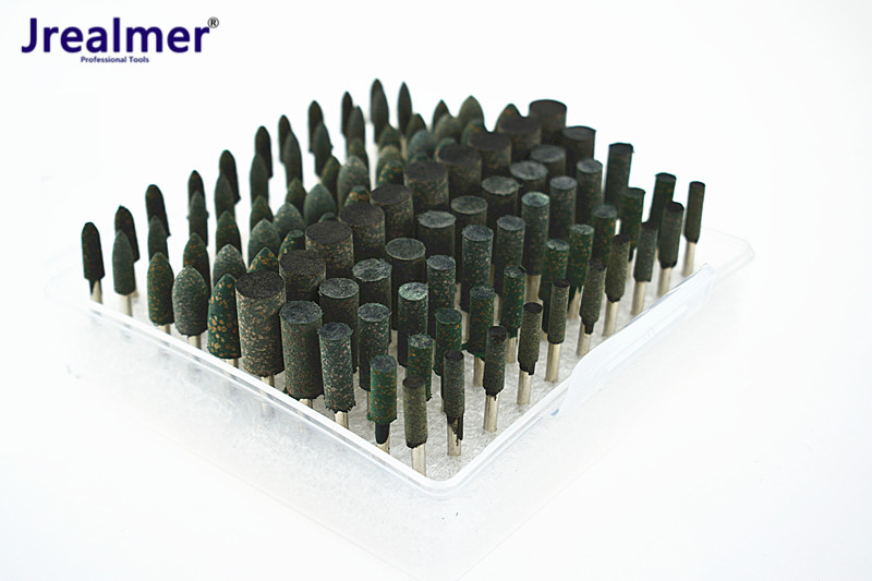 100pcs Elastic Rubber With Abrasive Mounted Point Dremel Drills Die Grinder Accessories