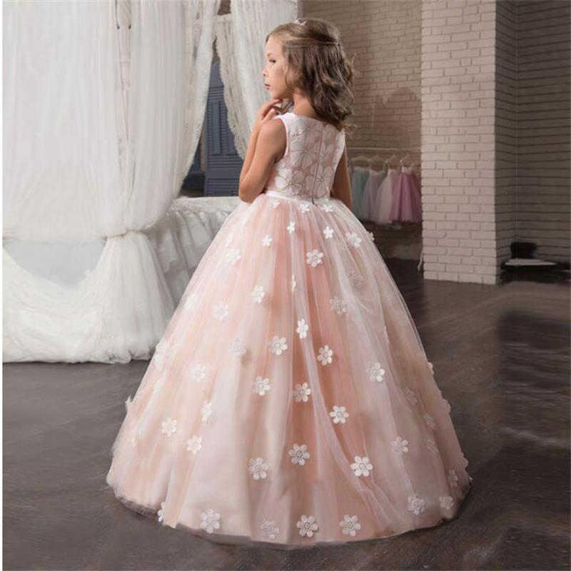 7a7a7047e Vestido de princesa de flores de encaje nuevo para niñas vestidos de  ceremonia de boda para